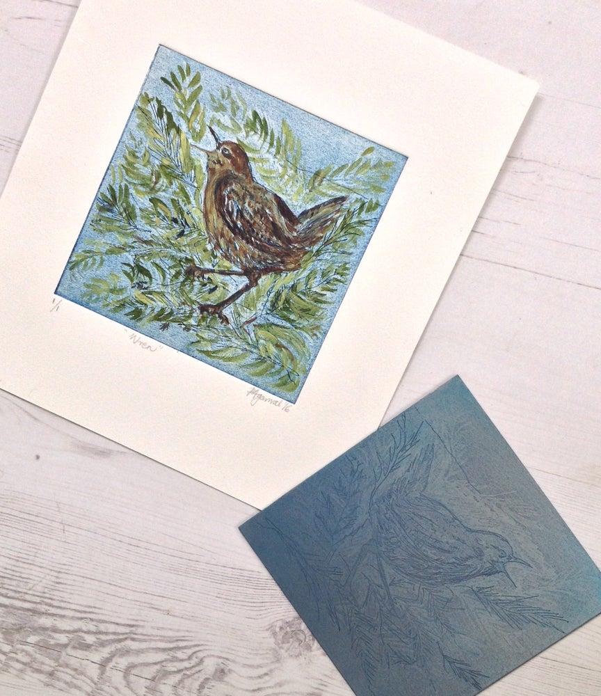 Image of Wren, original unique handpainted etching