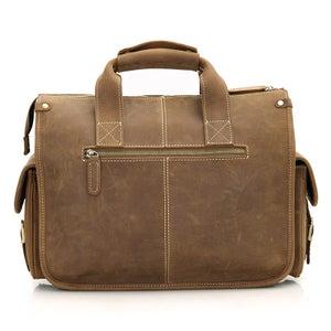 """Image of Vintage Handmade Crazy Horse Leather Briefcase / Messenger / 13"""" MacBook or 13"""" Laptop Bag (n77)"""