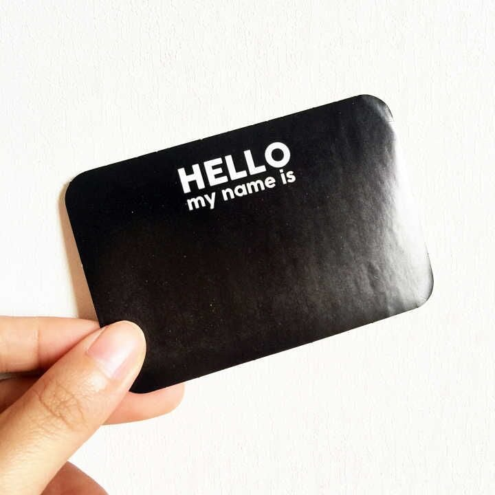 "Image of Sexy Black ""HELLO,my name is"" Blank Eggshell Sticker"