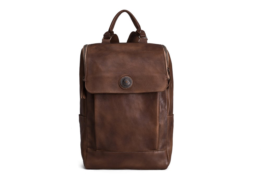 Image of Handmade Vintage Style Vegetable Tanned Leather Backpack, Travel Backpack, School Backpack 9026