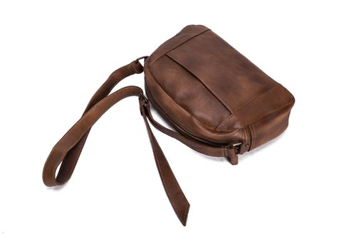 Image of Handmade Vegetable Tanned Leather Men's Messenger Bag, Crossbody Shoulder Bag, Satchel Bag 9030