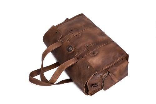 Image of Handmade Vegetable Tanned Leather Travel Bag, Tote Bag, Women Handbag 9035