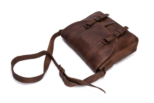 Image of Handmade Vegetable Tanned Leather Men's Messenger Bag, Shoulder Bag, Satchel Bag 9042