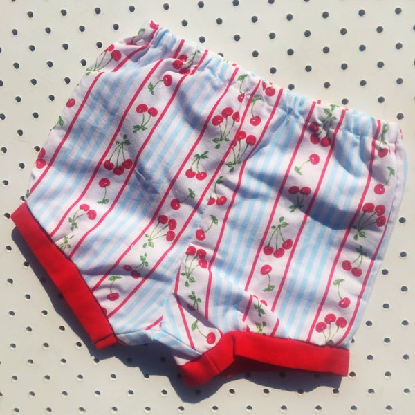 Image of Baggy bloomers - size 6-12mths - cherry stripes