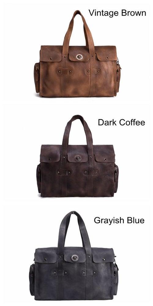 Image of Handmade Vegetable Tanned Leather Tote Bag, Travel Bag, Overnight Bag 9035