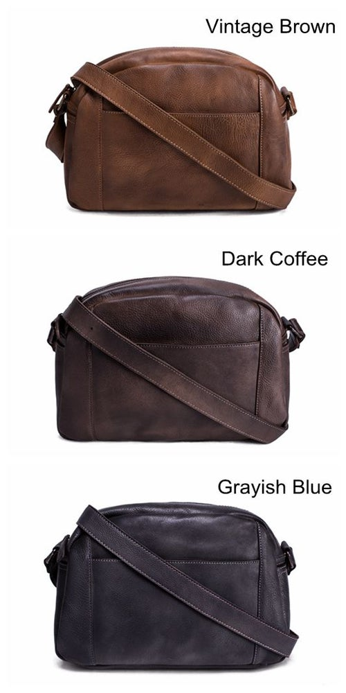 Image of Handmade Vegetable Tanned Leather Men Messenger Bag, Crossbody Bag, Satchel Bag 9030