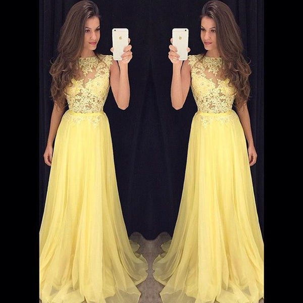Image of Elegant Lace Chiffon Ballgown Prom Dress, Illusion Sleeveless Ruffles Prom Dress
