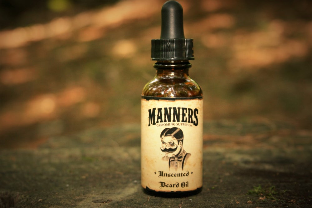 "Image of ""UNSCENTED"" BEARD OIL - Amber Dropper Bottle"
