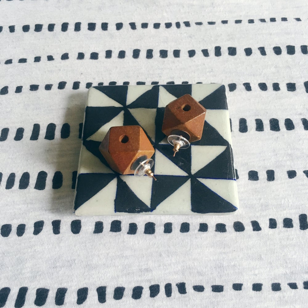 Image of •Tobi• wood stud earrings