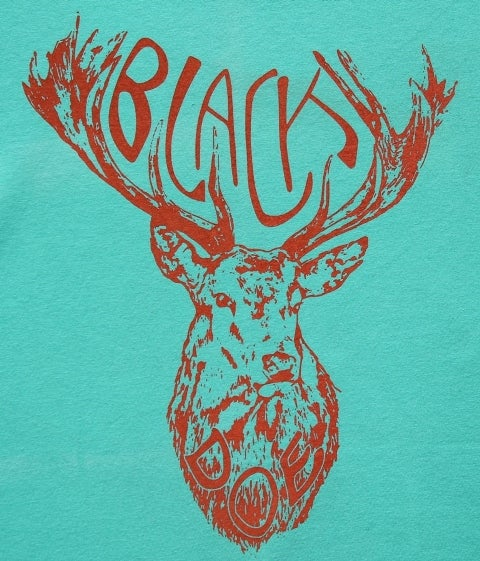 Image of BLACK DOE T-SHIRT - AQUA & CORAL