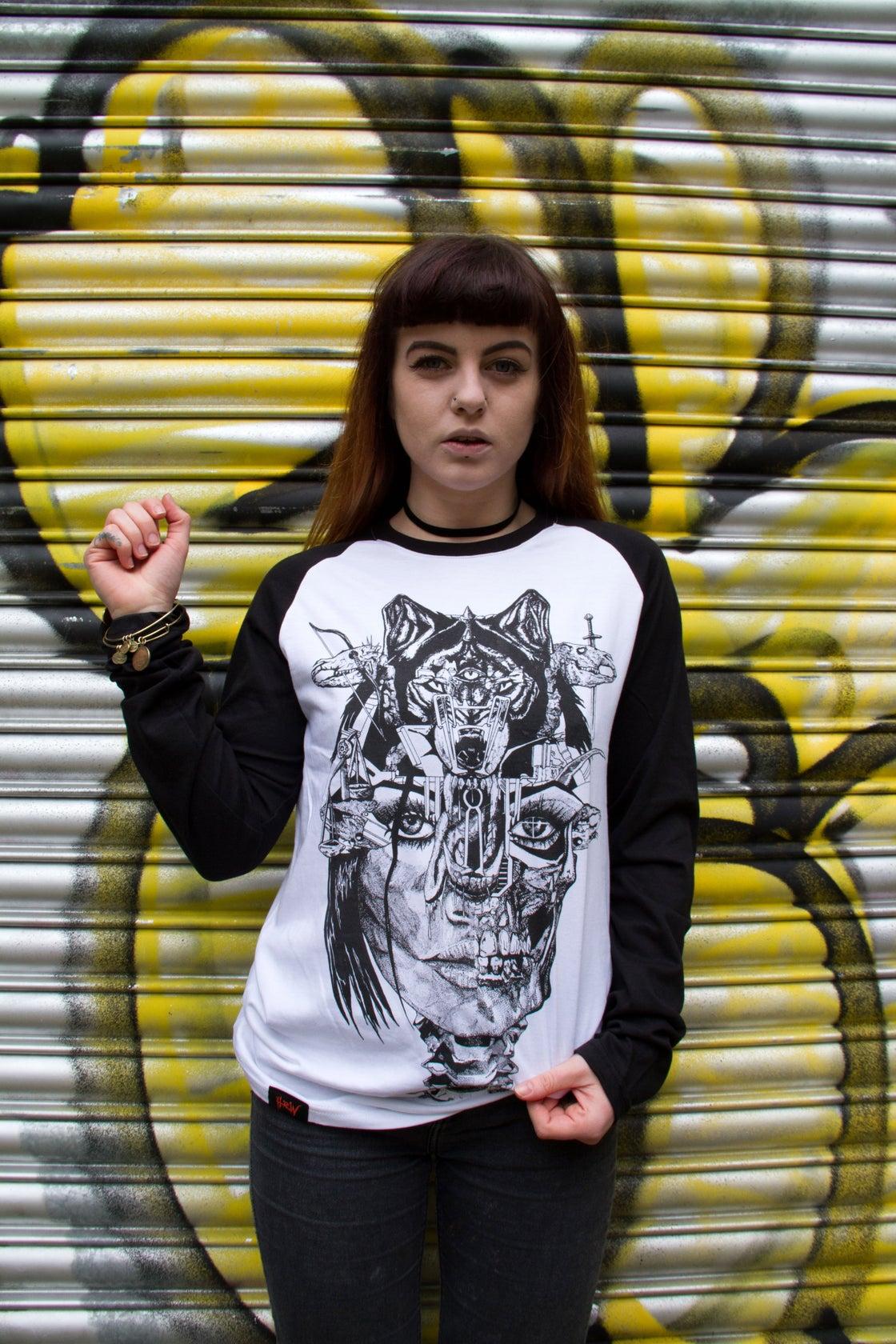 Image of Wolf Lady of the Apocalypse Contrast Long Sleeve Raglan Tee