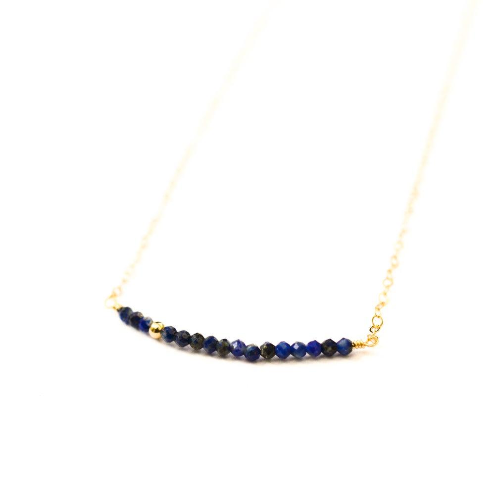 Image of Lapis lazuli line necklace 14kt gold-filled