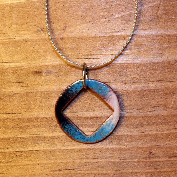 Image of Geometric Shapes Collection: Square Cutout Copper Enameled Necklace