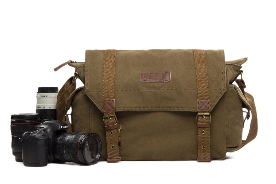 Image of Waxed Canvas DSLR Camera Bag, Shoulder Bag, Messenger Bag, Diaper Bag F1001