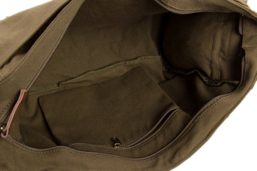 Image of Waxed Canvas DSLR Camera Bag, Shoulder Bag, Messenger Bag, Diaper Bag F1001