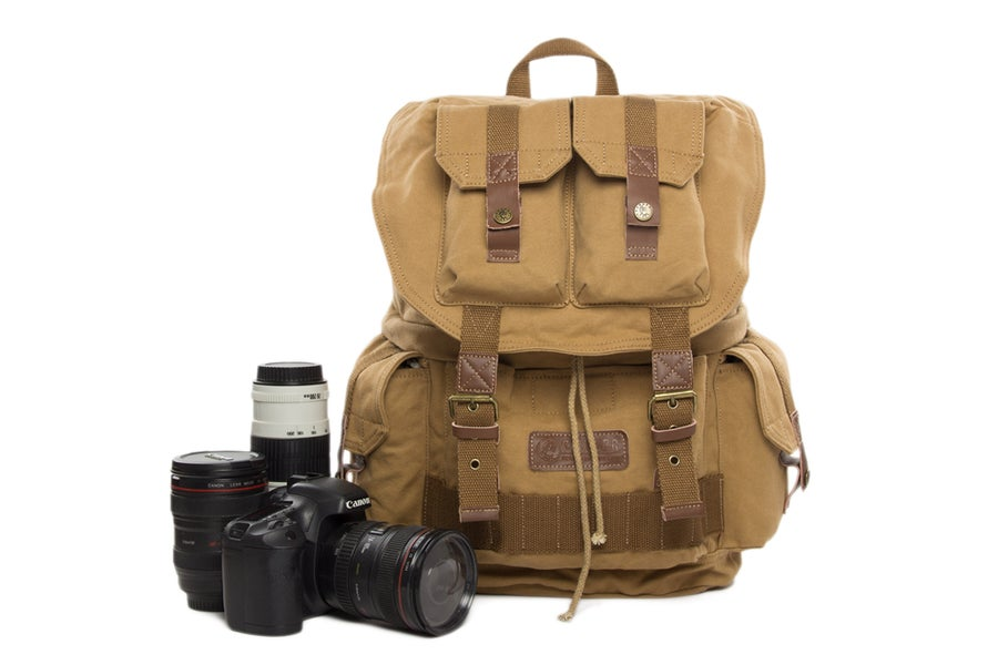 Image of Waxed Canvas DSLR Camera Backpack, Professional Camera Bag, Travel Backpack F2001