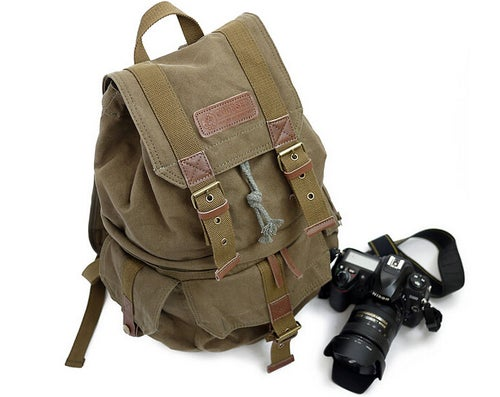 Image of Waxed Canvas Camera Backpack, Professional DSLR Camera Bag, Travel Backpack FB-1235