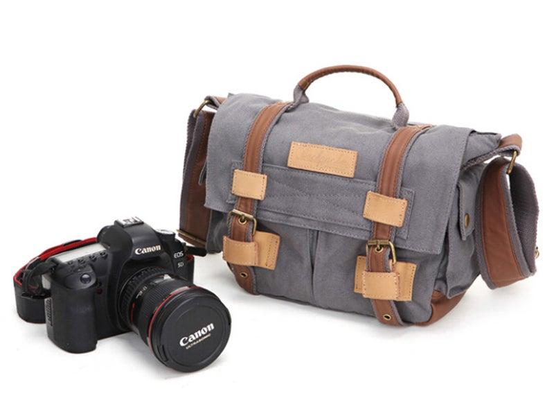 Image of Leather Trimmed Waxed Canvas DSLR Camera Bag, Messenger Bag, Diaper Bag BBK-2