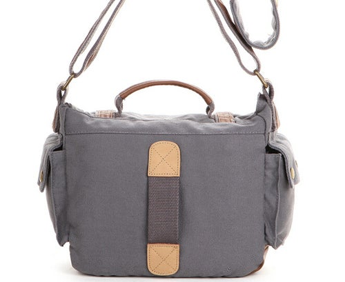 Image of Leather Trimmed Waxed Canvas DSLR Camera Bag, Messenger Bag, Diaper Bag BBK-2