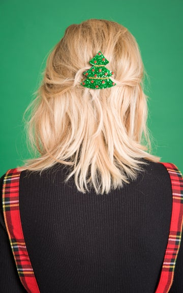 Image of Diamante Christmas Tree Hair Clip