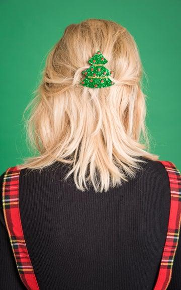 Image of Diamante Christmas Tree Hair Clip