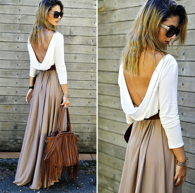 Image of Sexy backless splicing long-sleeved dress