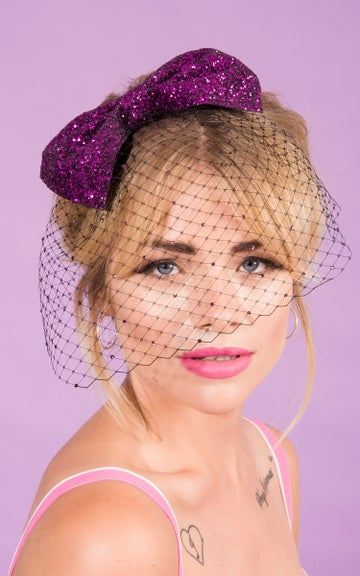 Image of Daphne Bow with Scattered Diamante Birdcage Veil Available in Multiple Colours