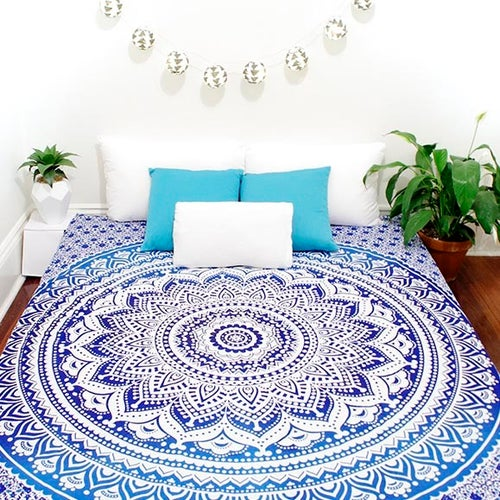 Image of Blue Ombre Mandala Throw or Throw Set from