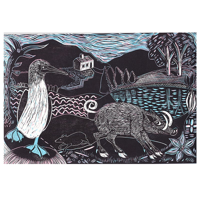 Image of 'Boar and Blue Footed Booby' - 3 colour block linocut