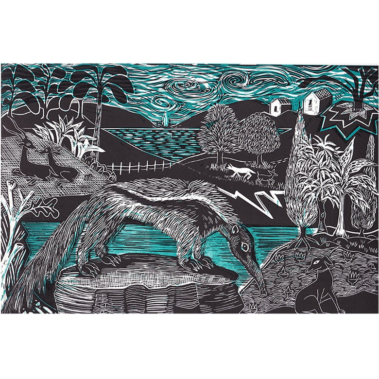 Image of 'Anteater and Whippet' - 2 block linocut