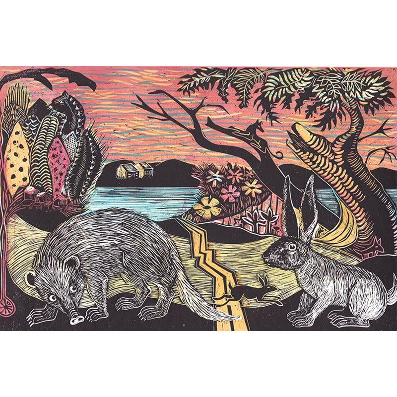 Image of 'Jack Rabbit and Cacti' - 5 colour block linocut