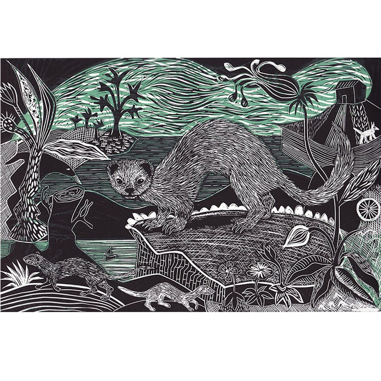 Image of 'Weasel, Polecat and Stoat' - 2 colour linocut