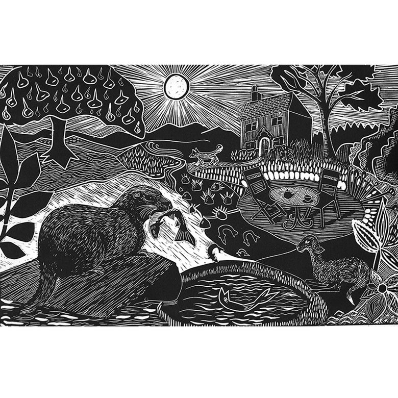 Image of 'Otter and African Sheep' - linocut