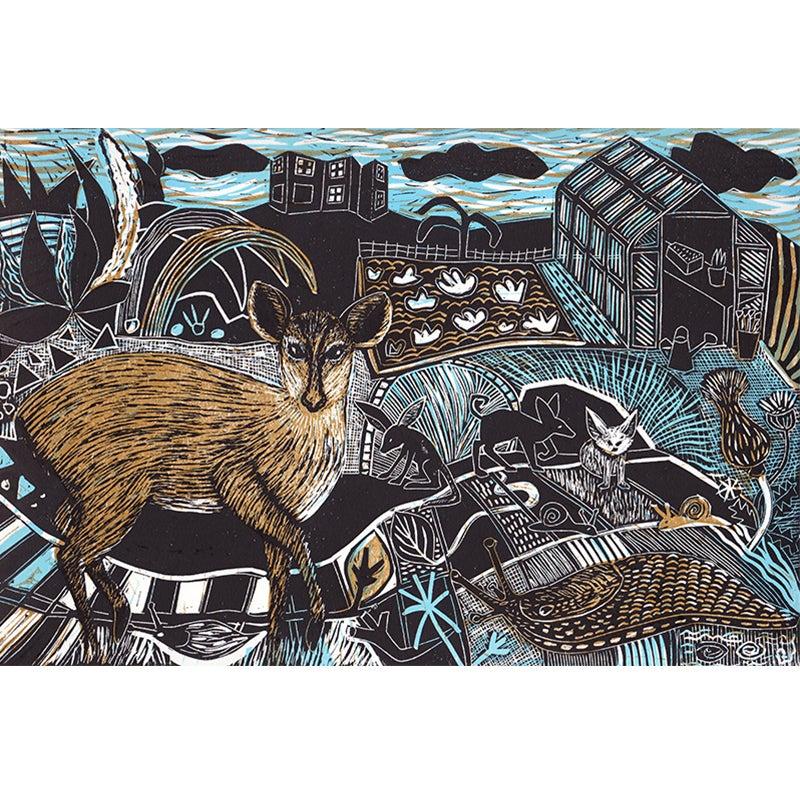 Image of 'Slugs, Snails and Deer' - 3 colour block linocut