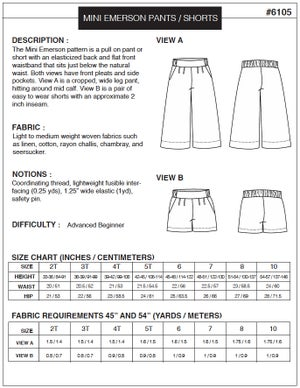 Image of MINI EMERSON CROP PANT / SHORT (PDF)
