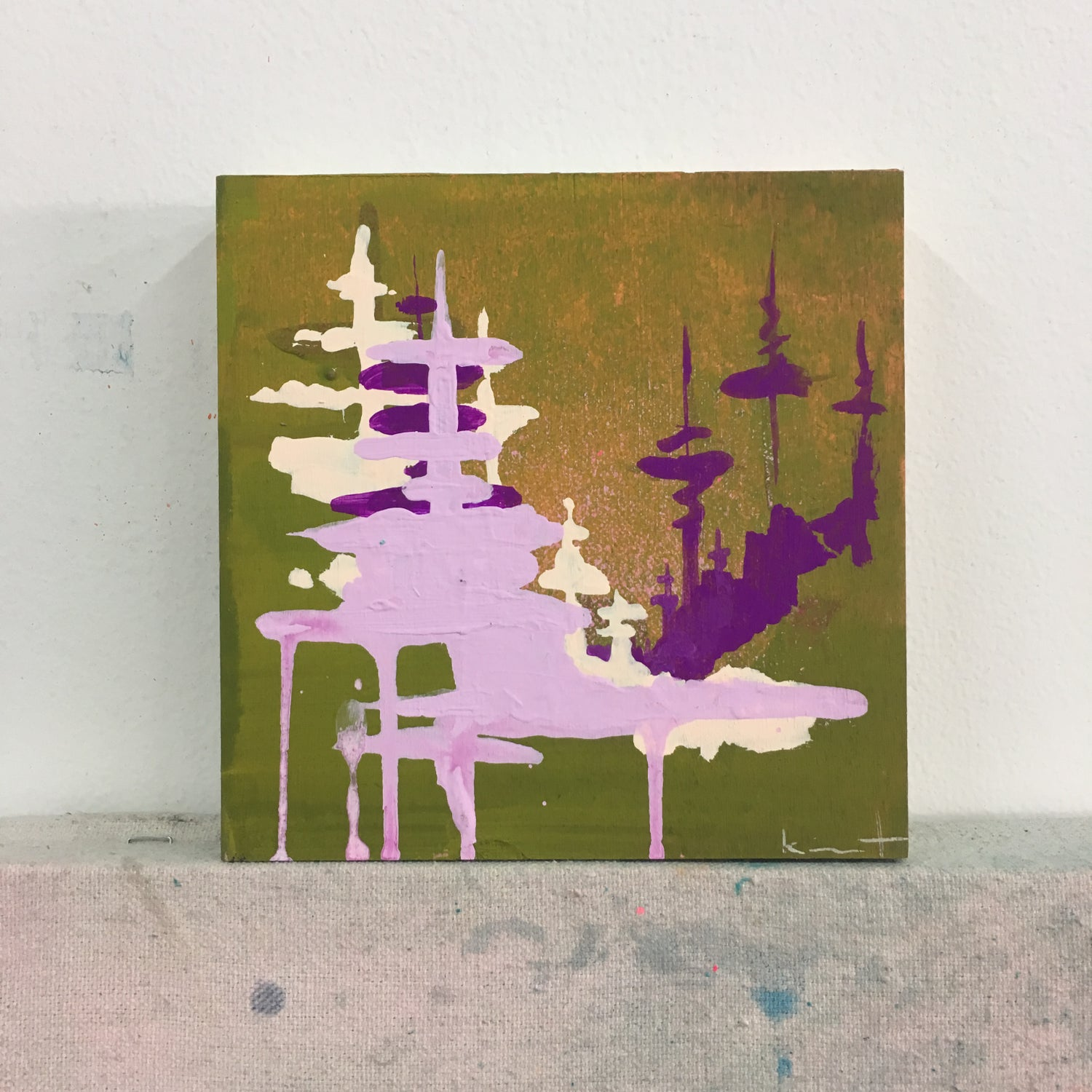 Image of tiny painting no. 46 (olive, lilac, violet)
