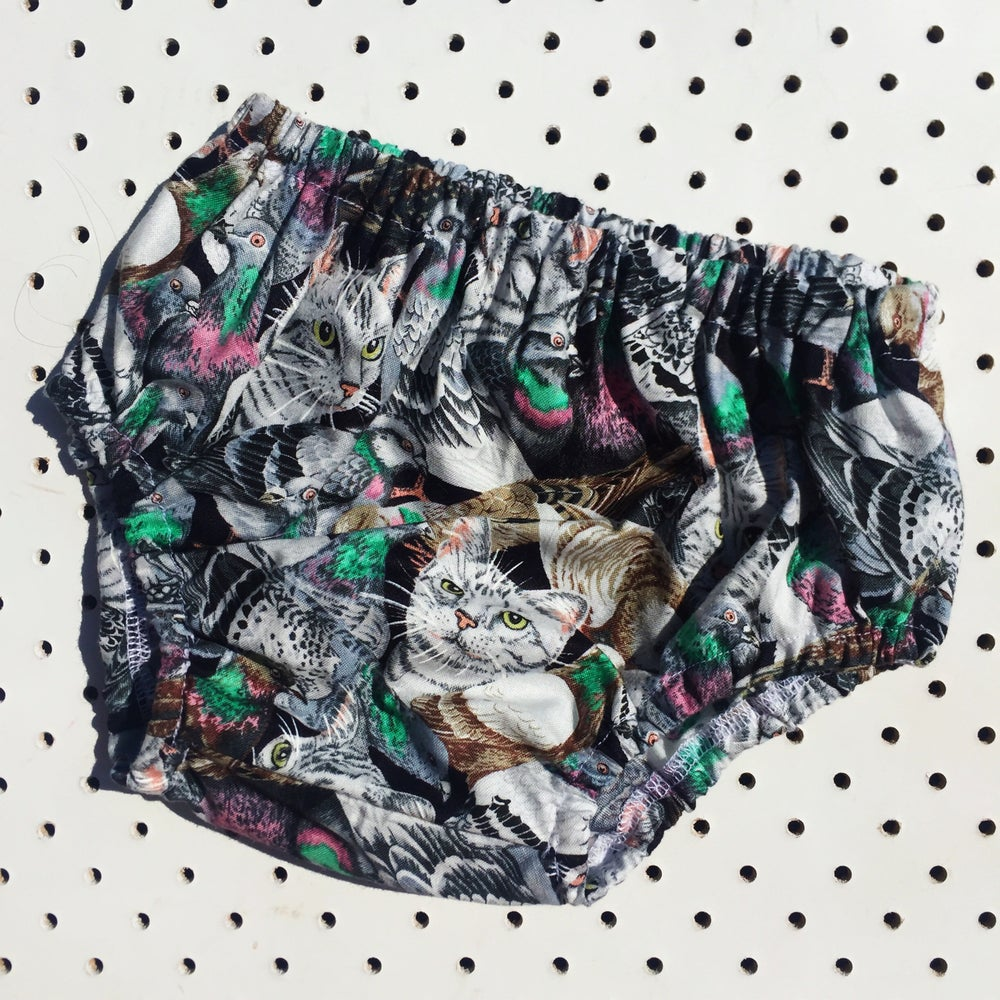 Image of Nappy cover - size 6-12mths - pigeons and cats! (Not vintage fabric)