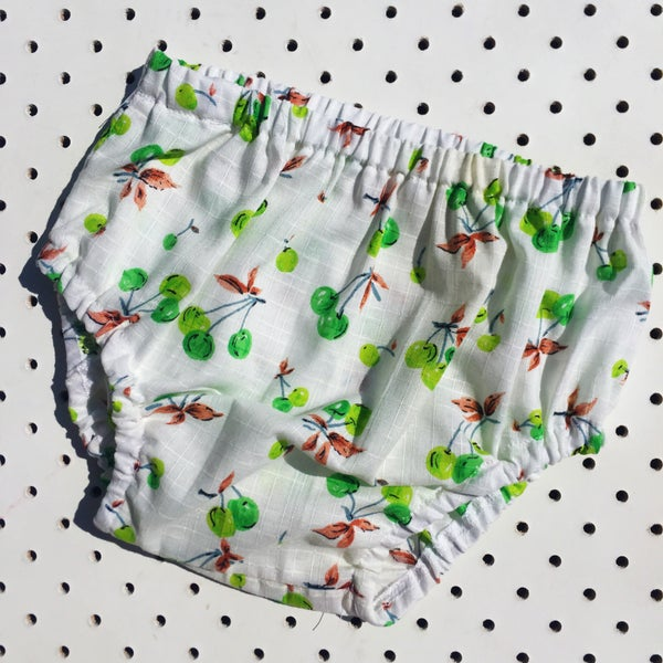 Image of Nappy cover - size 6-12mths - green cherries