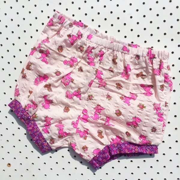 Image of Baggy bloomers - size 1-2yrs - pink poodle seersucker