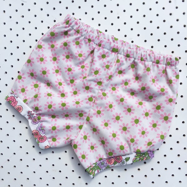 Image of Baggy bloomers - size 1-2yrs - pink/green daisies