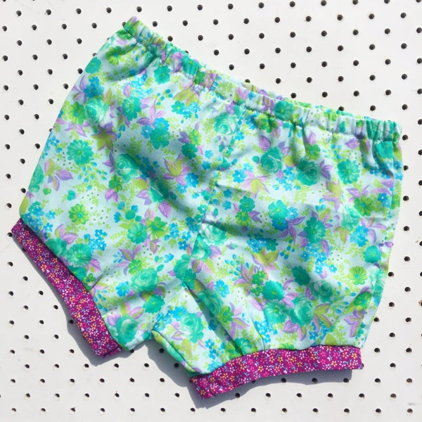 Image of Baggy bloomers - size 1-2yrs - Aqua floral