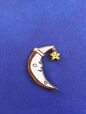 Image of Glow in the Dark: Crescent Moon Enamel Pin