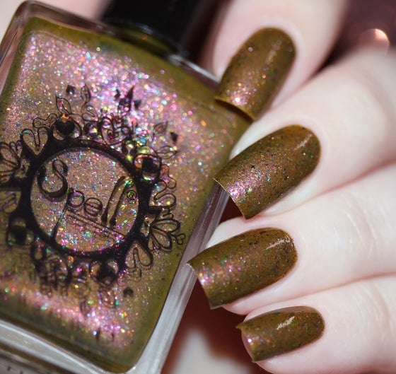 Image of ~Heartland~ dark mustard duochrome w/multichrome flakes Spell nail polish!