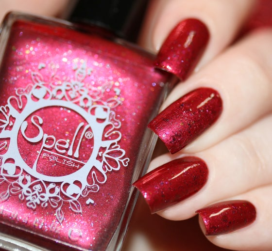 Image of ~Rebel Ride~ ruby red chrome w/multichrome flakes Spell nail polish!