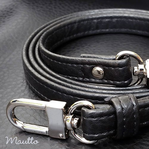 """Image of BLACK Premium Faux Leather Purse Strap - 1/2"""" Wide - Gold or Nickel #16LG Hooks - Choose Length"""
