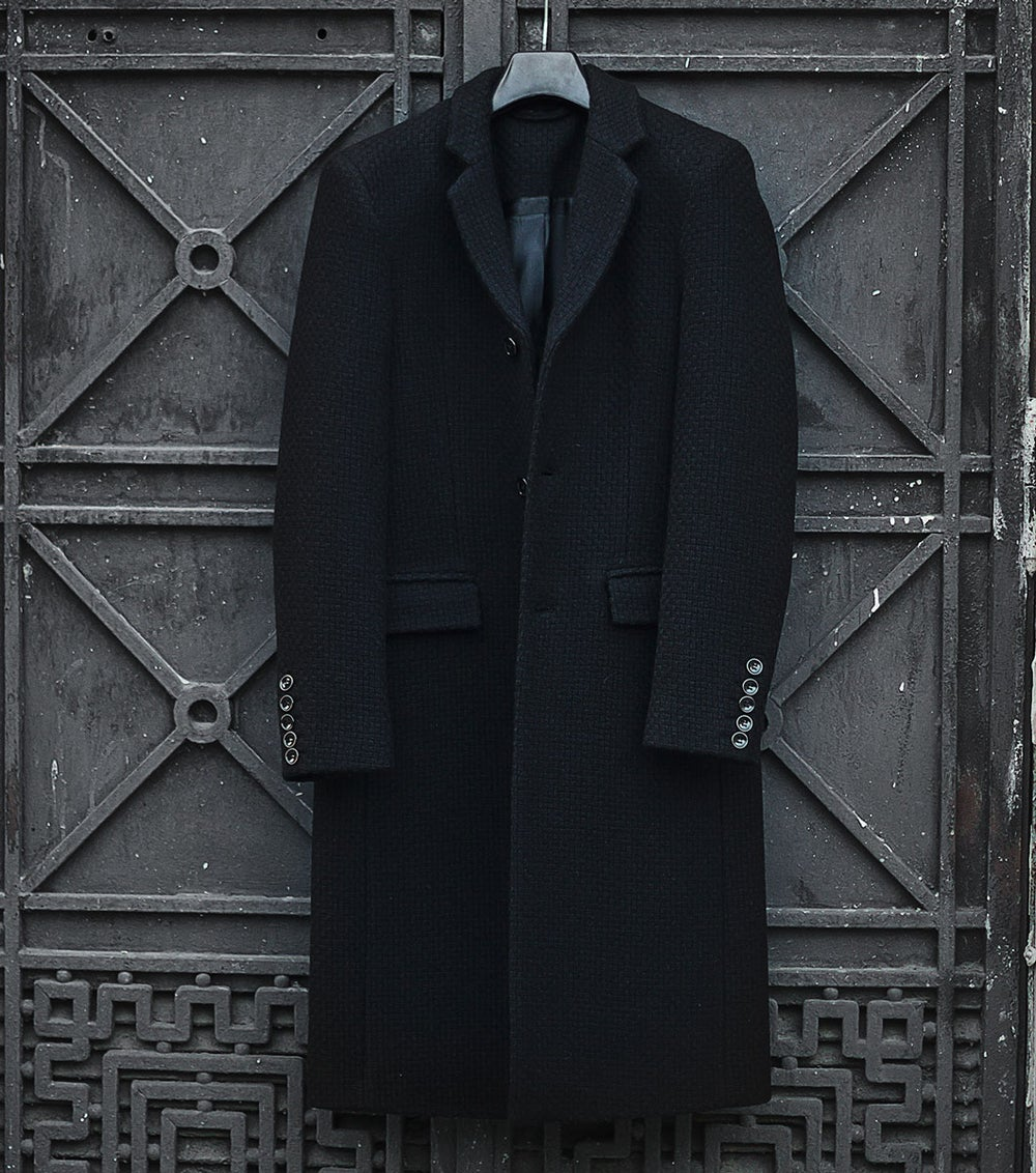 Image of LIMITED EDITION | Black Textured Boiled Wool Coat