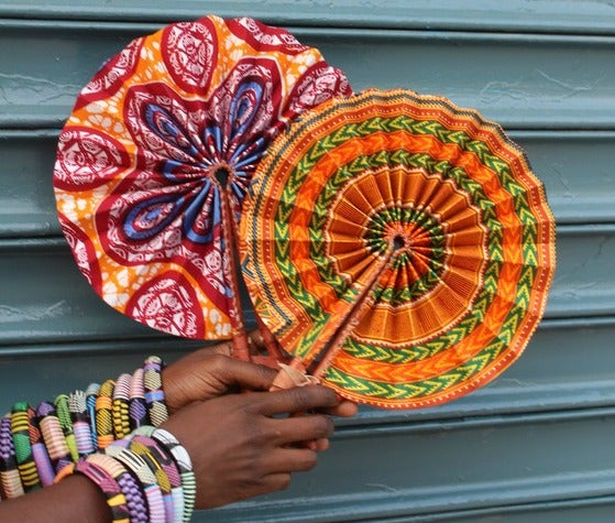 Image of Leather & African Fabric Fans (Bestseller!)