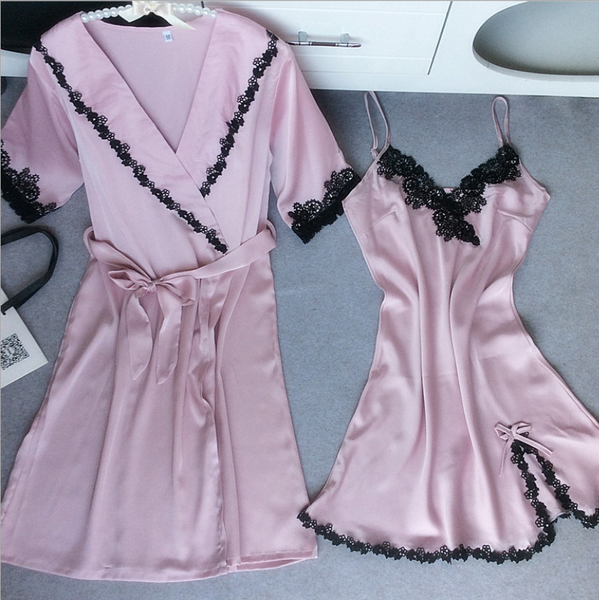 Image of New black lace nightgown female sling nightdress piece fitted tracksuit