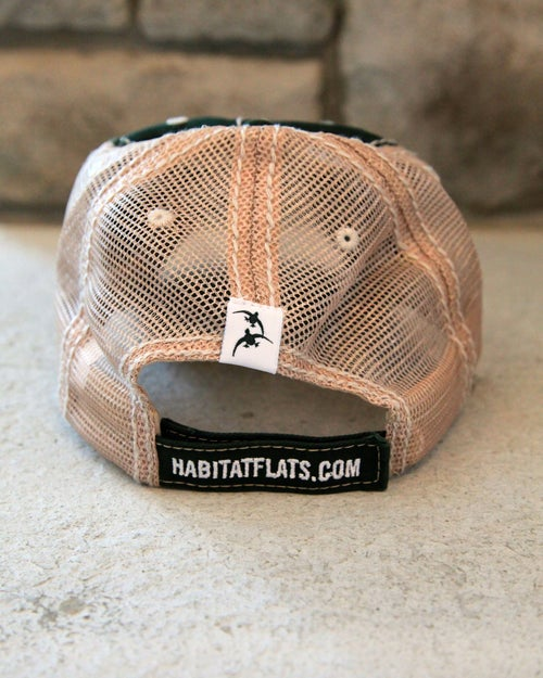 Image of Distressed Stitching Hunter & Khaki Trucker Hat