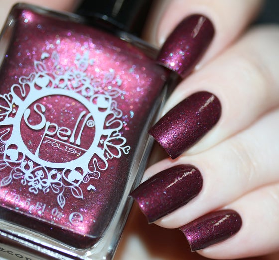 Image of ~Homecoming~ violet/bordeaux chrome with multichrome flakes nail polish!